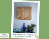 wooden bathroom wall cabinet, modern rustic, 50H x 60W x 14D cm, double doors, 2  shelves, natural light wood - custom handmade Somerset UK
