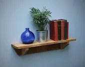 wood bookshelf, chunky natural wood wall shelf, 62 cm long x 15 cm deep - modern rustic farmhouse designed & custom handmade in Somerset UK