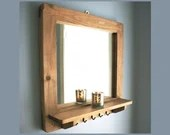 Mirror with shelf & 5 slim coat hooks, natural wooden frame, rustic, industrial, farmhouse style 60W x 60H cm square handmade in Somerset UK