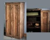 Rustic shoe storage cabinet, hallway cupboard, dark wood, shelves with doors, 130Hx65Wx35.5Dcm natural wood, Somerset UK *Not free delivery