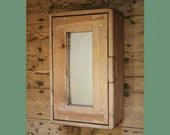 Slim bathroom wall mirror cabinet, over sink medicine vanity, natural wood, with 3 shelves, 1 door, farmhouse rustic industrial, Somerset UK