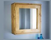 Bathroom mirror cabinet, natural wood, medicine 56Hx54Wx18D cm large, wooden over sink, wall mounted, 3 shelves, handmade rustic Somerset UK