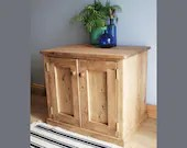 Wooden aquarium cabinet, large fish tank stand with doors & shelf, strong rustic natural wood, custom made in Somerset UK *Not free delivery