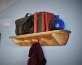 Wooden coat rack shelf with peg hooks, hallway storage bookshelf 4 or 6 wood hanger coat hooks, sustainable natural wood handmade Somerset