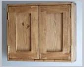 wooden bathroom wall medicine cabinet, wall mounted, 50H x 60W x 14D cm, 2 doors, 2 shelves, rustic natural wood custom handmade Somerset UK