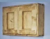 Short wooden bathroom cabinet, rustic wall mounted medicine cupboard 40Hx60Wx14Dcm, 2 doors 2 shelves, natural wood, custom made Somerset UK