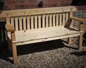 Garden bench seat, wide arms, natural wood, rustic country cottage outdoor garden furniture, custom handmade in Somerset * NOT free delivery