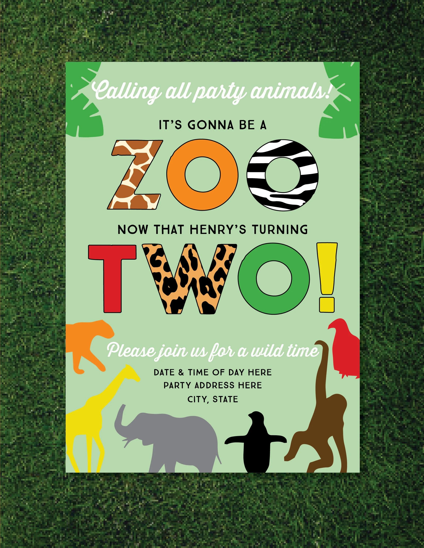 boys zoo themed 2nd birthday invitation animals safari jungle theme