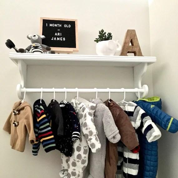 nursery shelf hanging rod shelf baby clothes rack kids etsy