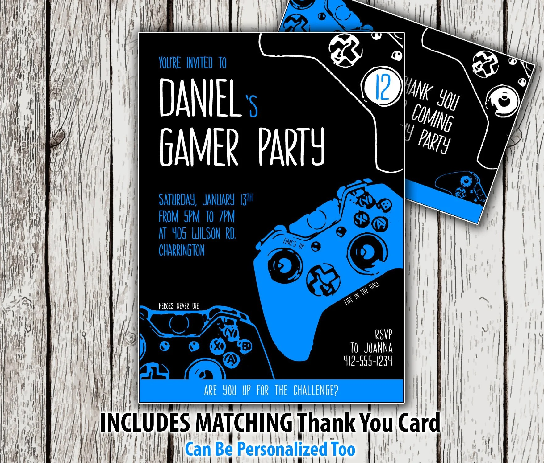 printable gaming party invitation