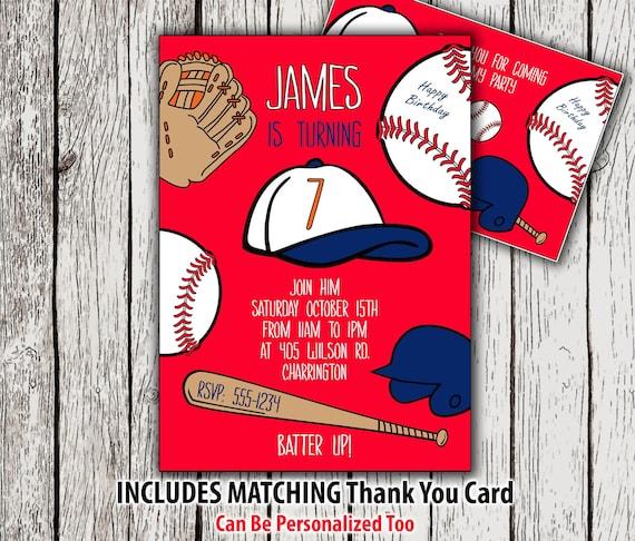 baseball invitation and thank you card