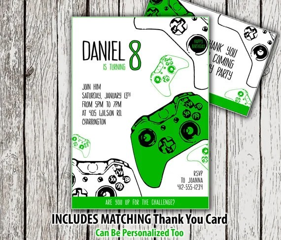 card gamer party invitation