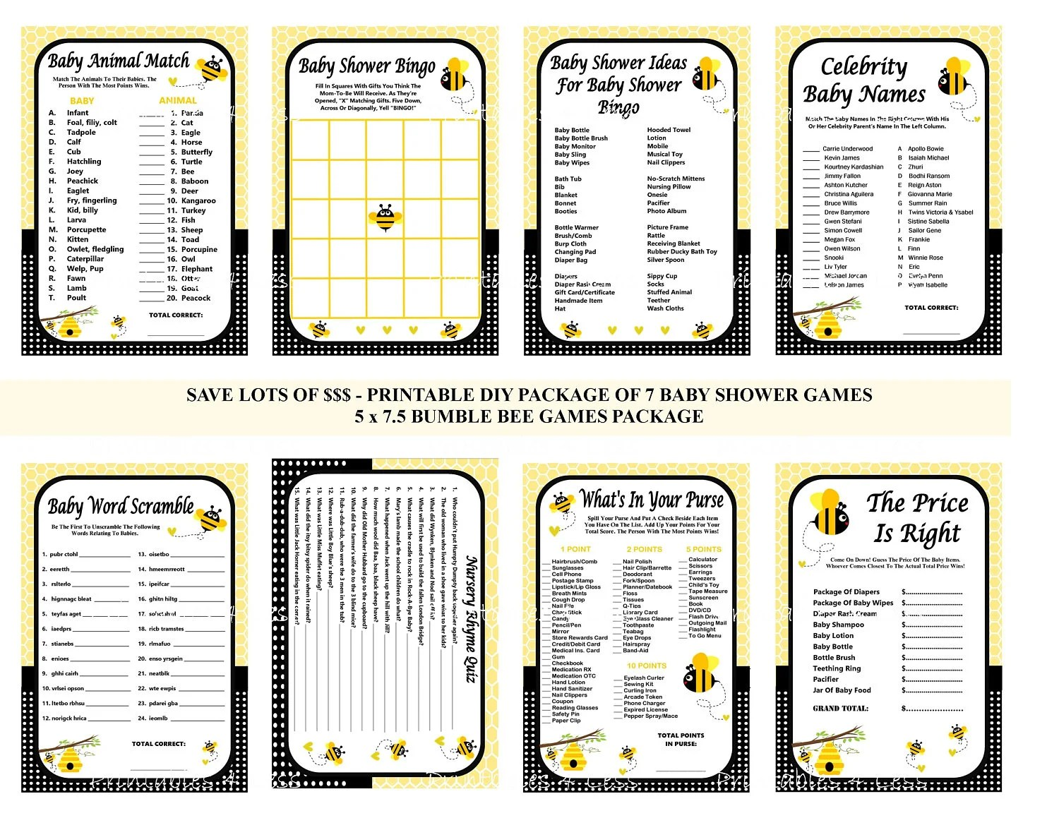Bumble Bee Baby Shower Game Printable Bee Game Bee Shower
