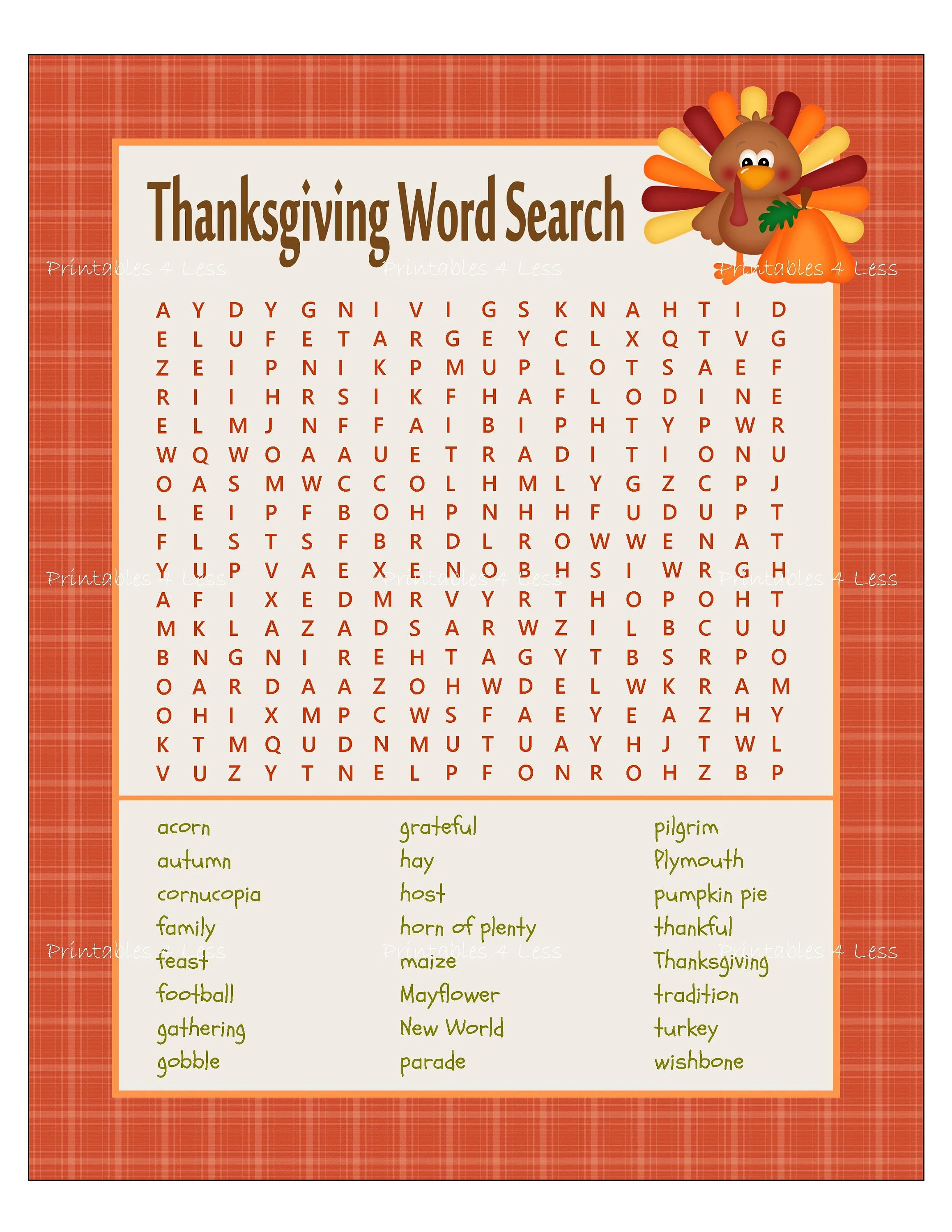 Thanksgiving Word Search Thanksgiving Game Printable
