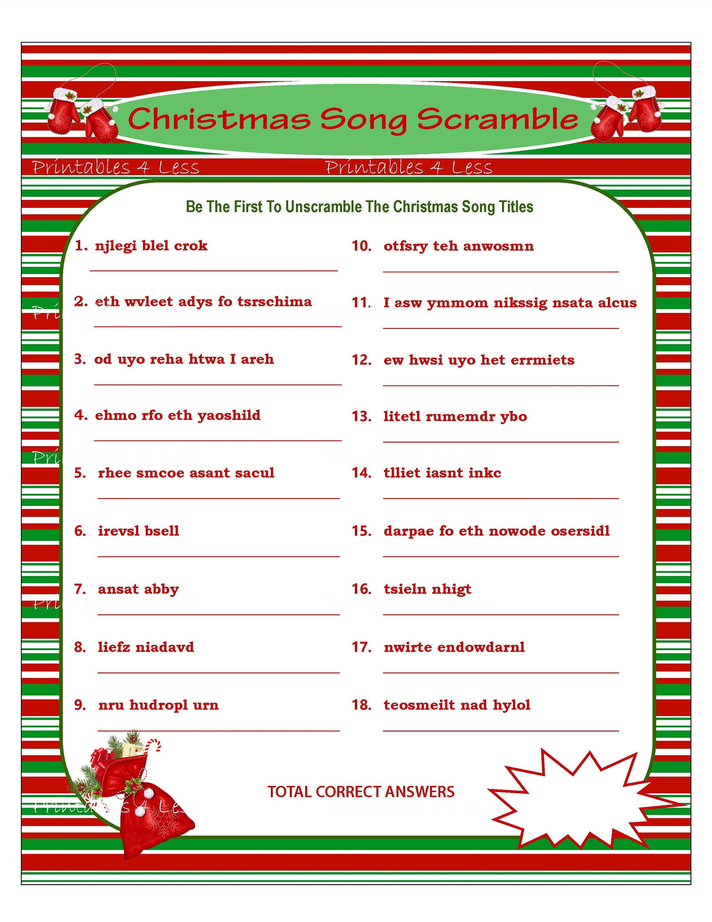 Christmas Scramble Christmas Song Game Printable Christmas