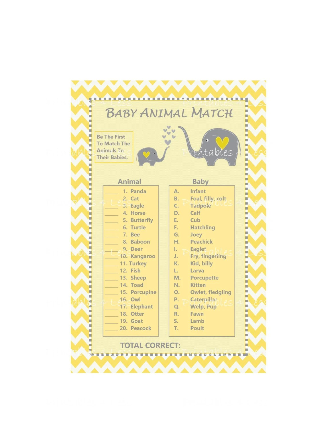 Baby Animal Match Game Baby Animal Name Game Yellow
