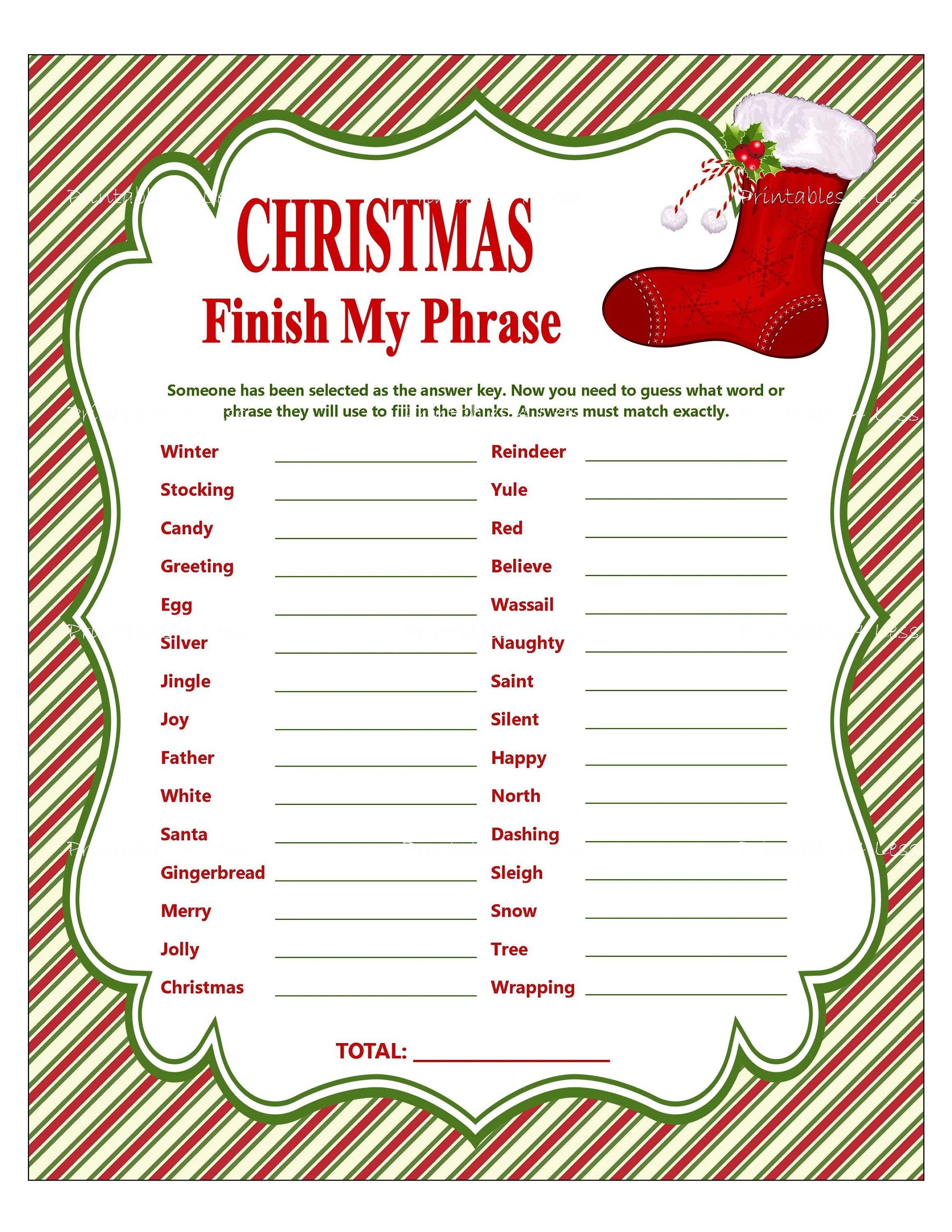Christmas Finish My Phrase