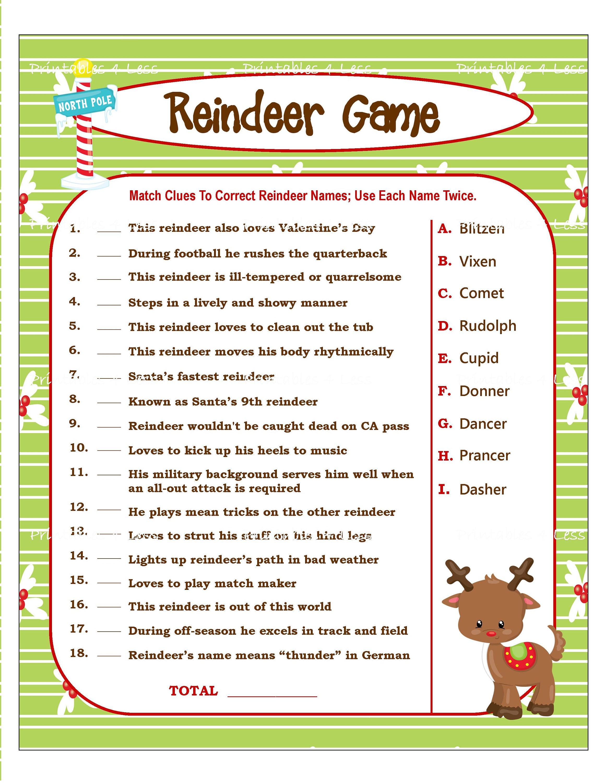 Reindeer Game Printable Christmas Game For Party Diy