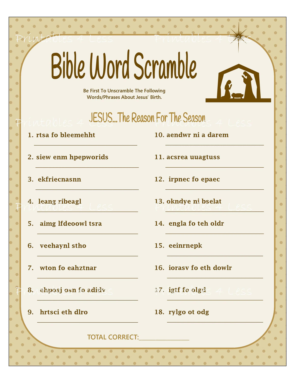 Bible Word Scramble Printable Christmas Word Scramble Diy