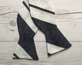 Navy and White Linen Stri...