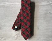 Red plaid Skinny Tie...
