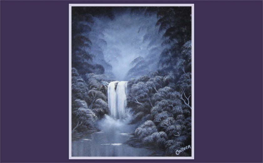 "16x20"" Original Oil Painting - Dark Purple Forest Waterfall River Wall Art"