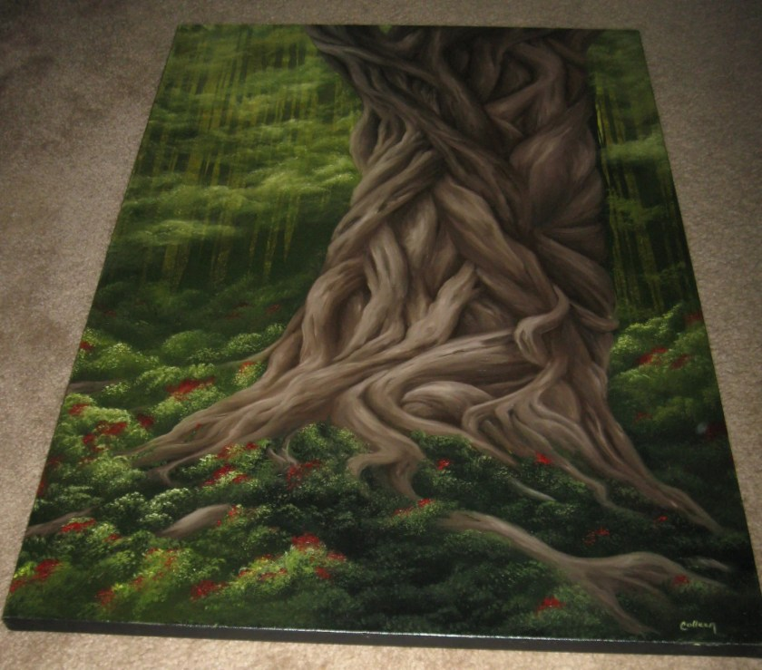 "24x36"" Original Oil Painting - Huge Twisted Tree Landscape - Large Canvas Wall Art"