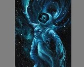 "RESERVED - 6x18"" Original Oil Painting - Astronaut Skeleton Skull Galaxy Nebula Birth of Stars Painting - Outer Space Astronomy Wall Art"