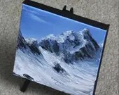 "6x6"" Mini Painting, Original Oil Painting - Glacier Mountain Landscape Canvas Wall Art"