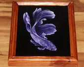 "8x10"" Original Oil Painting - Purple White Beta Fish - Underwater Seacreature Oceanlife Wall Art"