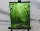 "4x6"" Original Mini Oil Painting - Green Forest Light Path Trees Landscape - Small Canvas Wall Art"