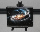 "3x4"" Original Mini Oil Painting - Tadpole Galaxy Nebula Deep Space Outer Space Starry Spacescape - Small Canvas Wall Art"