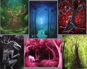 "3x4"" Magnet Forest Enchanted Trees Dark Woods Fantasy Creatures Art Print Refrigerator Thin Flat Square Magnet"