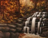 "18x18"" Original Oil Painting - Autumn Colors Waterfall Forest River Landscape - Canvas Wall Art"