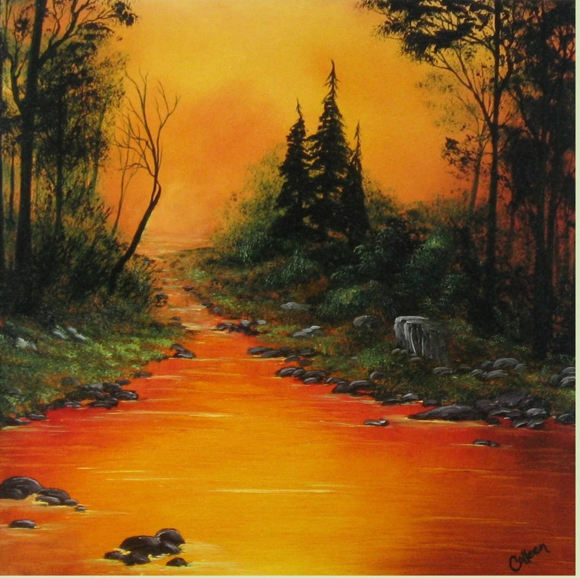 "18x18"" Original Oil Painting - Orange Forest Lake Landscape - Canvas Wall Art"