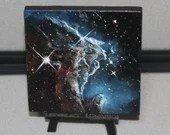 "4x4"" Original Mini Oil Painting - Monkey Head Nebula Galaxy Deep Space Outer Space Starry Spacescape - Small Canvas Wall Art"