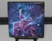 "4x4"" Original Mini Oil Painting - Mystic Mountains Nebula Galaxy Deep Space Outer Space Starry Spacescape - Small Canvas Wall Art"