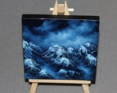 "Original Mini Painting - (4x4"") Dark Blue Mountains Foggy Cloudy Landscape, Oil Painting on Canvas with Easel, Apartment Decor, Small Gift"
