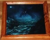"8x8"" Original Mini Oil Painting - Cthulhu Cthulu Dagon Rising - Blue Green Turquoise Oceanlife Seacreature Fantasy - Small Canvas Wall Art"