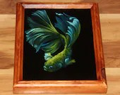 "8x10"" Original Oil Painting - Green Blue Beta Fish - Underwater Seacreature Oceanlife Wall Art"