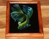 "8x10"" Original Oil Painting - Green Blue Beta Fish - Underwater Seacreature Oceanlife Wall Art"