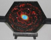 "5-6"" Original Mini Oil Painting Hexagon Flat Panel - Ring Nebula Galaxy Deep Space Outer Space Starry Spacescape - Small Canvas Wall Art"