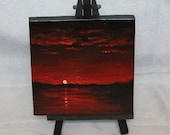 "Original Mini Painting - (4x4"") Red Sunset Sunrise Lake Ocean, Oil Painting on Canvas with Easel, Apartment Decor, Small Gift"