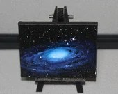 "3x4"" Original Mini Oil Painting - Blue Heart Galaxy Nebula Deep Space Outer Space Starry Spacescape - Small Canvas Wall Art"