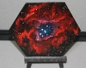 "5-6"" Original Mini Oil Painting Hexagon Flat Panel - Rpsette Nebula Galaxy Deep Space Outer Space Starry Spacescape - Small Canvas Wall Art"