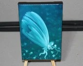 "4x6"" Original Mini Oil Painting - Turquoise Green Blue Butterfly Fairy Faerie Fae Pixie - Fantasy Wall Art Mini Painting"