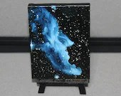 "3x4"" Original Mini Oil Painting - Witch Head Nebula Galaxy Deep Space Outer Space Starry Spacescape - Small Canvas Wall Art"