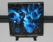 "4x4"" Original Mini Oil Painting - Keyhole Nebula Galaxy Deep Space Outer Space Starry Spacescape - Small Canvas Wall Art"