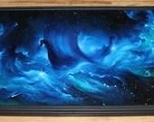 "24x36"" Original Oil Painting - Viking Ship Longboat Nebula Galaxy Ocean Outer Space Dark Green Blue Astronomy Fantasy - Giant Large Wall Art"