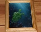 "5x7"" Original Mini Oil Painting - Green Blue SeaTurtle Turtle Sea Oceanlife Seacreature - Small Canvas Wall Art"